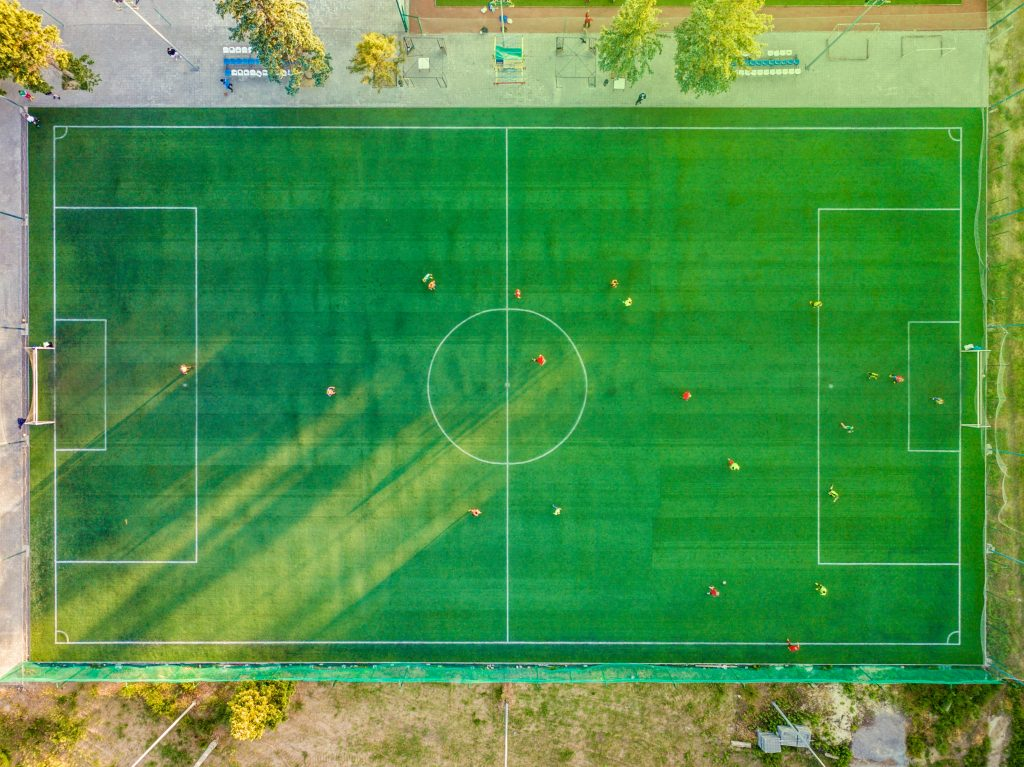 Fußball Feld aus der Vogelperspektive